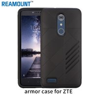 cajas de teléfono antichoque al por mayor-50 unids Para ZTE zmax pro Slim Armor Anti-Shock Silicone Rugged Rubber Hybrid Hard PC Phone Case Para ZTE V6 PLUS Cubierta Fundas
