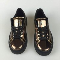Rihanna x Suede Femmes et Hommes Chaussures Rihannas Sneakers Creeper Camo Black Gold Silver Running Shoes Taille 36-44