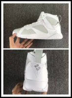 2017 mais novo holofote DS Air Retro 7 PURE MONEY Men Basquete Sapatos Branco Metallic Silver Real Leather Sneakers Com Caixa Original Big