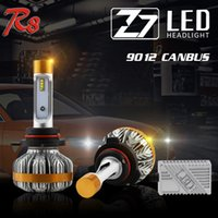 Wholesale Slim Hid Fog Lights - 1 Set Z7 9012 HIR2 50W 6000LM LED Headlight Slim Conversion Kit LUMILED LUXEON ZES Chip Built-in Canbus Error Decoder Repl HID Xenon Halogen