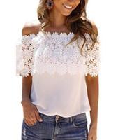 Wholesale Ladies Ruffled Lace Blouses - NEW women White Lace Chiffon Blouse Hook flowers Off Shoulder Shirt Ruffle Short Sleeve ladies Beach Boho Loose lace tshirt S-6XL