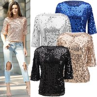 Wholesale Embellished Blouse - JessicaCHE 2017 Womens Shimmer Glam Glitter Sequin Embellished Sparkle Tank Top Shirt Coctail Party Tops Shining T-Shirt Blouses