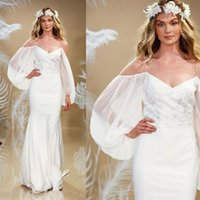 Wholesale Baggy Summer Dresses - Goddness 2017 Long Sleeve Wedding Dresses Beach Wedding Party Spaghetti Straps Off the Shoulder Baggy Sleeves Sheath Mermaid Bridal Gowns