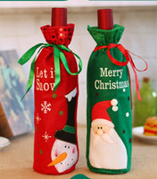 Wholesale Champagne Christmas Tree - Santa Claus Red Wine Bottle Bag Christmas Decorations Articles Multi Function Champagne Cover Gift Bags Hot Sale