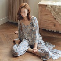 Wholesale Fresh Leg - Wholesale- Fresh chrysanthemum robes three-piece wide-legged pants, harness pajamas