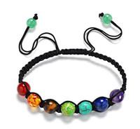 Wholesale Amber Healing - 7 Chakra Healing Balance Beads Bracelet Yoga Life Energy Bracelet Lovers Casual Jewelry