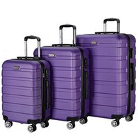 """Wholesale Travel Suitcase Wheels - 3 Piece 20"""" 24"""" 28"""" Wheel Spinner Luggage Sets Hardside Suitcase Travel Suitcase ABS School Rolling Trolley Purple"""