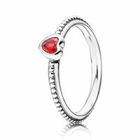 Wholesale Sterling Silver Golden - Authentic 925 Sterling Silver Ring One Love Golden-Red Synthetic Ruby Rings For Women Compatible With Pandora Jewelry HRAPD388
