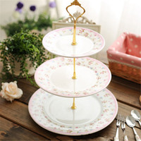 Wholesale Cake Plate Handles - Wholesale-High Quality 1set 3   2 Tier Cake Plate Stand Handle Fitting Hardware Rod Plate Stand