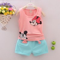 Wholesale Minnie Children Suit - Wholesale- Kids Girls Boys Sets Minnie Stars Pattern Clothing Sets Vest + Shorts 2 Pics Suits Summer Cool Baby Children Sleeveless Clothes