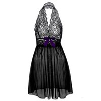 Wholesale Plus Size Halter Nightgown - Plus size Sexy Lingerie for Women Gorgeous Black Red Lace And Mesh halter V-neck Babydoll matching g-string S-6XL Full size Sleepwears