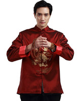 Wholesale Double Collar Shirt Men - Free Shipping chinese style top long sleeve tang suit chinese traditional clothes double dragon embroidery mandarin collar shirt Chinese Top