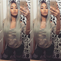 Wholesale Long Grey Wig Heat Resistant - Fashion glueless synthetic lace front wig long silky straight grey ombre wigs synthetic lace front wig heat resistant fiber for black women