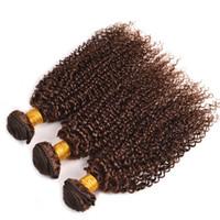 pacote de cabelo castanho cabelo humano venda por atacado-Castanho claro Indiano Kinky Curly Virgem Cabelo Tece 3 Pçs / lote # 4 Cor Castanho Castanho Encaracolado Extensões de Cabelo Humano Feixes Dhl Livre