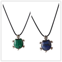 Wholesale Lapis Malachite - New malachite lapis lazuli turtle pendant necklace leather cord Natural Opalite Tiger eye charms Turtles Necklace sea life jewelry