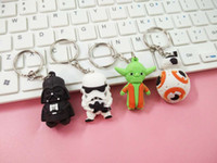 Wholesale Titanium Wood Ring Wholesale - New Star Wars Keychains Darth Vader white soldiers sided cartoon doll pendant key ring chain ring key chain doll gift TA193