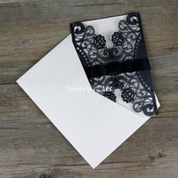Wholesale diy envelope card - Wholesale- 50pcs lot Laser Cut Wedding Invitations With Envelope Black outer Peony Wedding Invitation DIY Personalized Invitations Cards