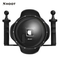 Wholesale Black Dome Camera - SHOOT 3.5 vision 6 inch Diving for Sports Action Camera 4 Black Dome Port With Extra LCD Waterproof Housing Case