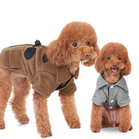 Wholesale Classic British Coats - Cool Design Dog Clothes British Style Brown Grey Dog Coats With Horn Buttons S M L XL XXL Pet Supplies Drop Shipping