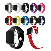 Wholesale Hole Mm - 10 Colors Replacement Silicone Hole Style Wrist Bracelet Sport Band Strap For Apple Watch iWatch2 iWatch1 42 mm
