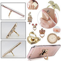 Wholesale Nude Iphone - Finger Grip Metal Rings Stand Drill Holder Mobile Phones Tablet Iphone Ipad Lazy Rotating Design Mashup Square Blank Nude Delicate Touch