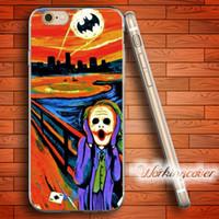 Wholesale Batman Iphone 5c Case - Coque Joker Batman Oil Painting Soft Clear TPU Case for iPhone 7 6 6S Plus 5S SE 5 5C 4S 4 Case Silicone Cover.