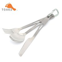 TOAKS SLV-02 Set di posate in 3 pezzi in titanio Ultralight Portable per attrezzature esterne Camping Traveling Picnic 49g
