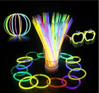Wholesale Neon Bracelet Fluorescence Color - 100pcs Multi Color Light Sticks Glow Fluorescence Stick with Connectors Bracelets Necklaces Neon Party Luminous Concert Accessories ZH-001
