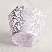 Wholesale scroll cut resale online - 50PCS Laser Cut butterfly shaped Wedding Birthday Cupcake Wrappers Baking Cup Liners Home Garden Party Decoration