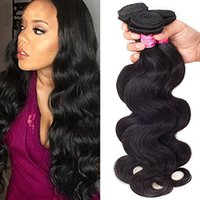 Wholesale unprocessed peruvian hair pack resale online - Natural Black Hair Virgin Brazilian Body Wave Human Hair Weave Extension Unprocessed pack Bundle Weave Hair Extension
