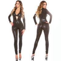 Wholesale tiger costume women for sale - Sexy Women Black Bodycon Tiger Print Wet Look Fetish Gothic Catsuit Bodysuit Fetish PVC Clubwear Costume