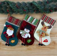 Wholesale Christmas Socks Decorate - Christmas socks decorated Santa Claus Christmas socks Christmas gift bags G672
