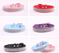 Wholesale Dog Collar Leather Diamond - Pet Collar Hot Bling Rhinestone PU Leather Crystal Diamond Puppy Pet Dog Collars Size S M L Pink Red Supplies Products G476