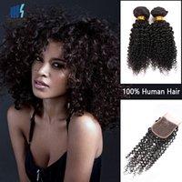 Wholesale Kinky Permed Lace Closure - 3 Bundles with Lace Closure Brazilian Afro Kinky Curly Virgin Hair Dark Brown Human Hair Extension Peruvian Mongolian Indian Hair Bundles