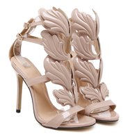Wholesale Rome Sandals Gold - summer sandals Rome Street pat wings flame high heels leaf wedding shoes high quality pump women shoes gold nude black