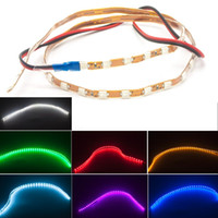 Wholesale 45cm Led Strips - 45CM 1210 Flexible Soft Tube 12V DRL Universal Car Flexible LED Eyebrow Strip Light Lamp Bar