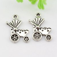 Wholesale Antique Carriage - Hot sell ! 500pcs Antique silver Zinc Alloy Single-sided Baby carriages Charms Pendants DIY Jewelry 13x19mm A-012