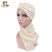 Wholesale Extra Long Black Hair - 2017 new fashion sequined turban hijab Pre Tied Bandana cap Chemo Head Scarf Hair Cover Sleeping hat Extra Long Cotton turbante