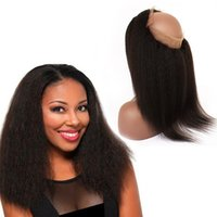Wholesale Italian Parts - Afro Kinky Straight 360 Lace Frontal With Baby Hair 9A Brazilian Virgin Human Hair Italian Coarse Yaki 22.5*4*2 Lace Band Frontal Closures
