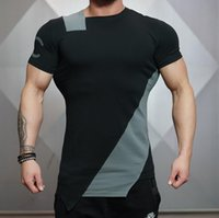 Wholesale Long Body T Shirts Men - Wholesale- In Summer of 2017 O-neck Stadium Shark Stringer Man Body Engineers Bodybuilding And Fitness Crime Short Sleeve T-shirt Slim-type