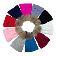 Wholesale Skull Hair Tie - 7 5ss Figured Stripe Knitting Cap With Hair Bulb Autumn Winter Warm Beanies Soft Comfortable Knitted Hats Factory Direct