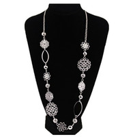 Wholesale matching christmas sweaters - Wholesale- New Fashion Hollow out flower brief all match sweater chain silver long necklace Jewelry TH-N486