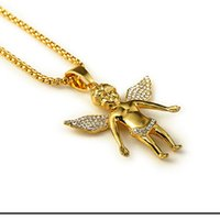 Wholesale Hiphop Jewelry Wholesale - Wholesale-2015 New Fashion Kaulakoru 24K Gold Plated 80CM Chain Hip-hop Angel Necklace Jewelry Trendy Cool Men Hiphop Pendant Necklaces
