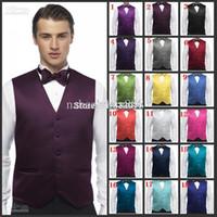 Wholesale men satin waistcoat - Wholesale- Free shipping 2017 New men's Vests waistcoat Custom Size and Color Satin Wedding Groom Groomsmen Best Man Waistcoat Plus Size
