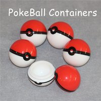 Wholesale Glass Oil Jars Wholesale - Silicon Poke Mon Ball Pokeball Food Grade Silicone Ball Container Jar for Dab Oil Dry herb Wax Box Glass Silicone bongs Rigs