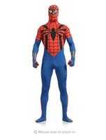 ingrosso completo di spiderman del corpo-(SN829)) Qualità Unisex Adulto Full Body Rosso e blu Lycra Spandex Supereroe Cosplay Spiderman Zentai Tute Costume di Halloween