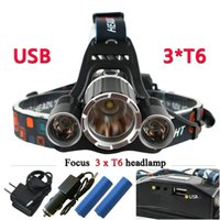 Wholesale Rechargeable Headlight Usb - 3T6 USB jack 10000 lumens led headlamp headlight CREE XML T6 waterproof head Flashlight head light 18650 Rechargeable battery