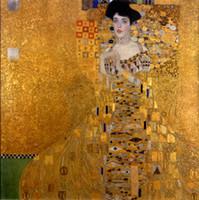 pinturas a óleo venda por atacado-Emoldurado, Pintado À mão Gustav Klimt-Retrato Feminino de Adele Bloch-Bauer Wall Art Pinturas A Óleo Na Lona Multi Tamanhos pode ser personalizado R93