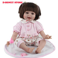 Wholesale Reborn Doll Dresses - Silicone Reborn Baby Dolls 22 Inch New Fashion 55cm Realistic Lovely adorable cheeks girl wearing dress Kids toys