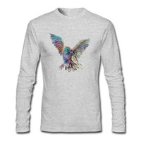 Wholesale Long Sleeve Owl Shirt - Animal print T-shirt long sleeve autumn latest design Geometric Owl printed boy's cool tee shirts crew neck tops for man